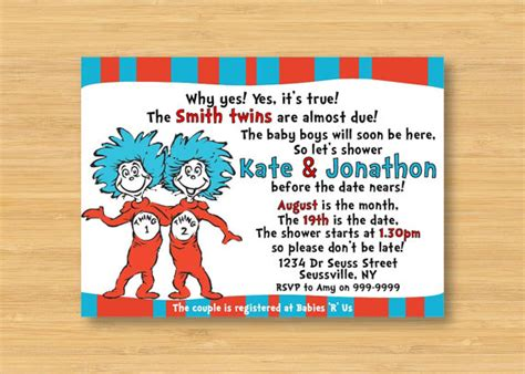 dr seuss baby shower favors thing 1 and thing 2 baby shower invitation printable