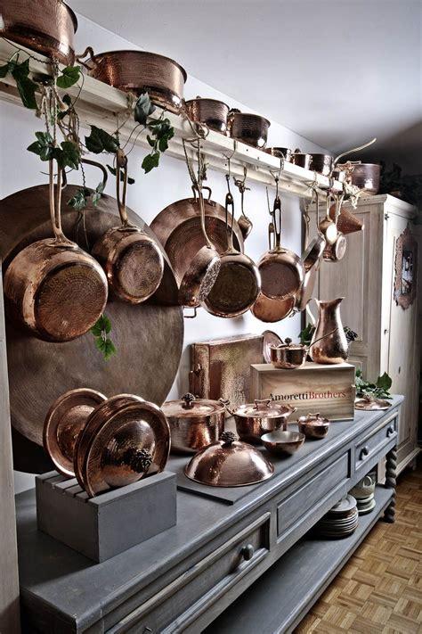 hammered copper cookware  amoretti brothers   pot rack wwwamorettibrotherscom copper
