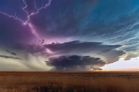 nature landscape storm plains lightning clouds