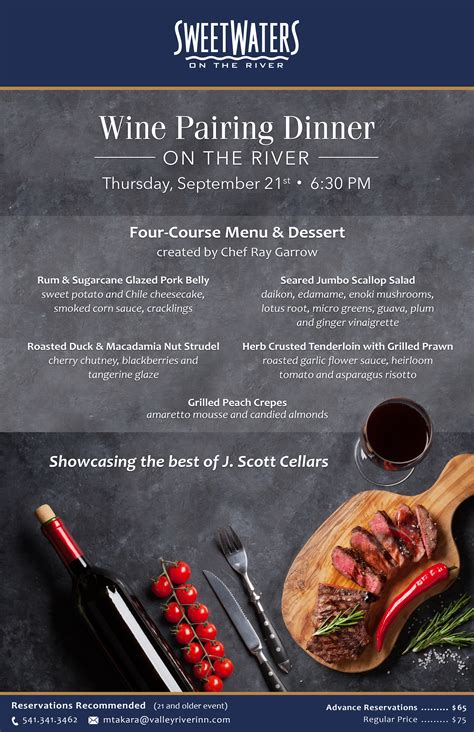 Sweetwater River Deck Menu by Winemaker S Dinner On The Patio At Sweetwaters On The