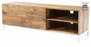Meuble Tv Design Pas Cher : meuble tv design boho manguier et m tal blanc meuble tv miliboo ventes pas ~ Teatrodelosmanantiales.com Idées de Décoration