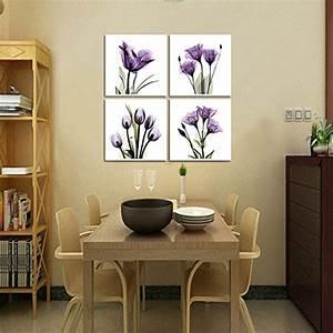 Hlj art panel elegant tulip purple flower canvas print