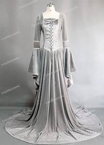 Light Gray Velvet Celtic Medieval Dress D2006 D Roseblooming