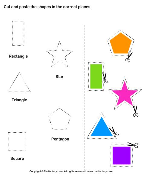 cut and paste activities cut and paste shapes worksheets