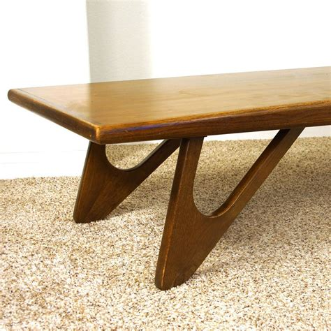 Did you know amazon did a midcentury modern furniture brand? Mid Century Kroehler Coffee Table / Vintage 1960s Solid Wood Surfboard Table / MCM Danish Modern ...