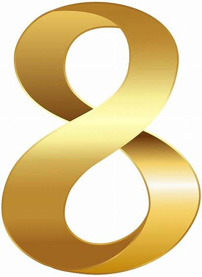 Golden Transparent Number Eight Clip Clipart Alphabet