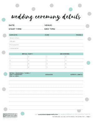 printable wedding party contact list fill