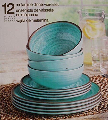 Melamine Dinnerware 12 Piece Set   Turquoise   HomeGoodsReview