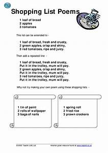 Shopping list poems - Writing poetry - Home