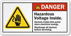 hazardous voltage inside discharge all devices danger With electrical panel warning labels