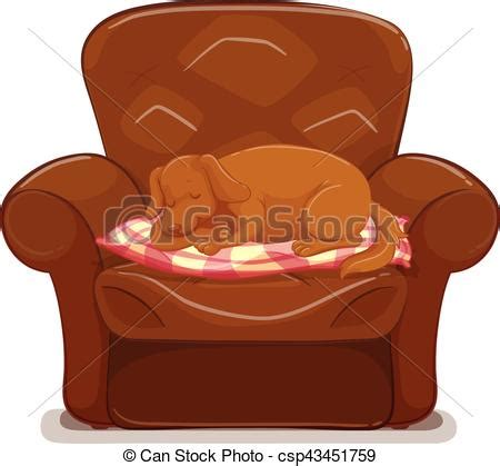 dog sleeping  brown sofa illustration