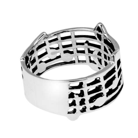 musical note notes band 925 silver ring 5 aeravida