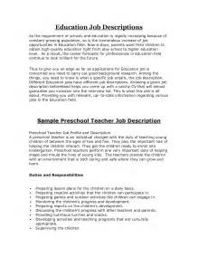resume profile for preschool description for resume sales lewesmr