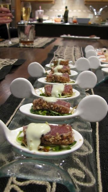 spoon canapes recipes seared and crusted ahi tuna micro greens with a