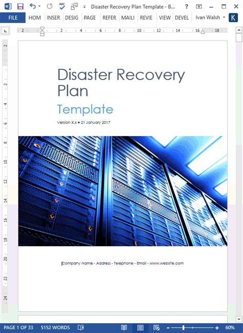 disaster recovery plan template ms wordexcel