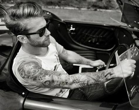 Sleeved Guy Driving His Retro Car. #tattoo #tattoos #ink