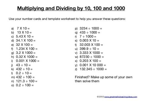 multiplying and dividing by 10 100 and 1000