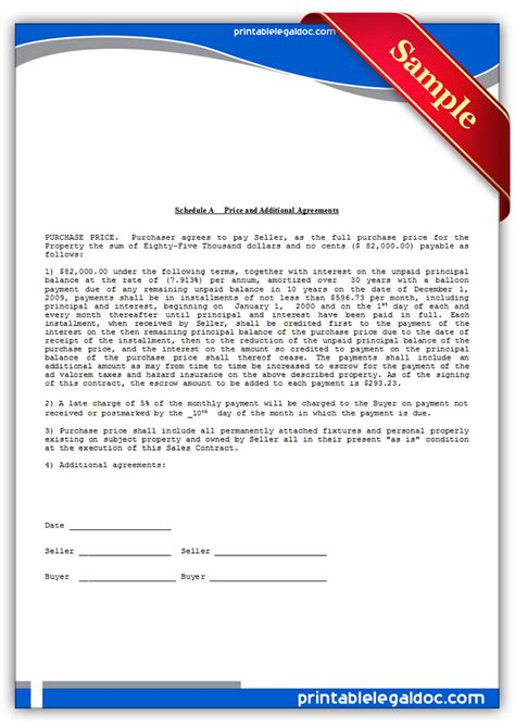printable contract  deed forms template