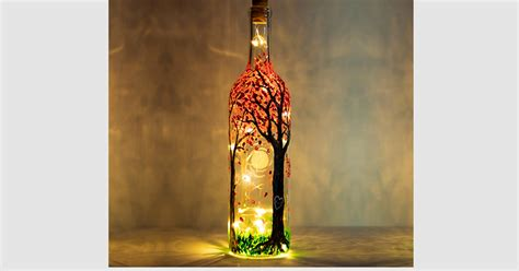 paint nite blossoming forest magic wine bottle painting