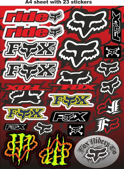 motocross helmet stickers fox stickers race stickers auto decals helmet decal
