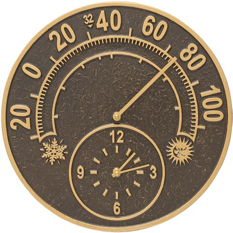 outdoor thermometer and clock solstice in patio thermometers