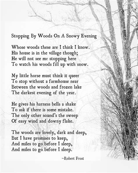 Stopping by Woods Robert Frost Poetry Winter Art Large Wall