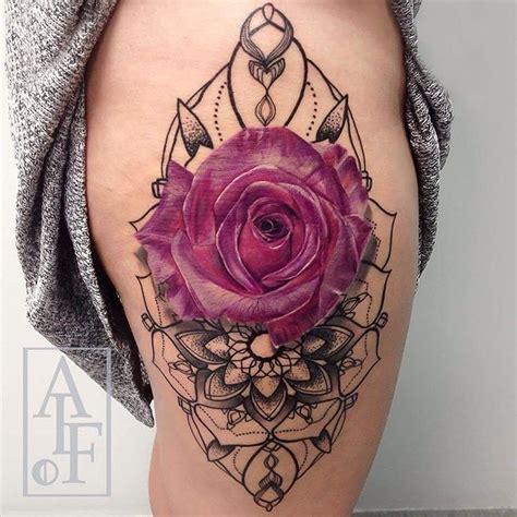 pink rose mandala  girls hip  tattoo design ideas