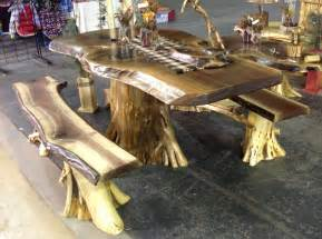 Rustic Cedar Log Kitchen Table