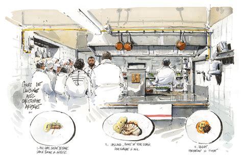 la brigade de cuisine voyage chez le chef christophe aribert dessins de