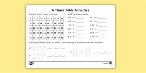 4 Times Table Worksheet  Activity Sheet  Times Table, Times