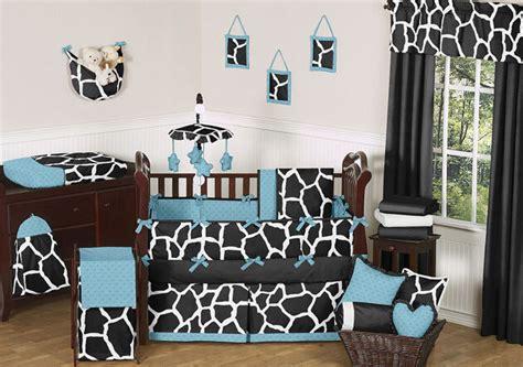 black blue white giraffe animal print boy girl baby