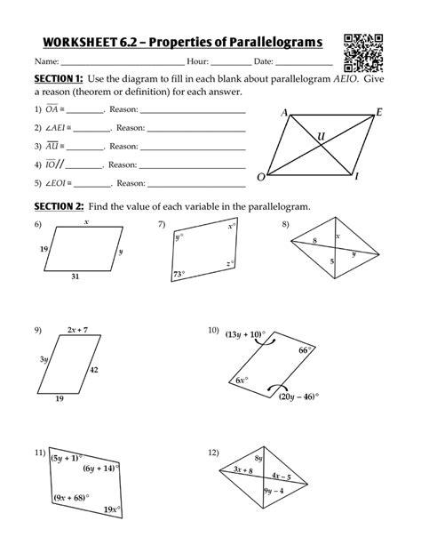 worksheet  properties  parallelograms