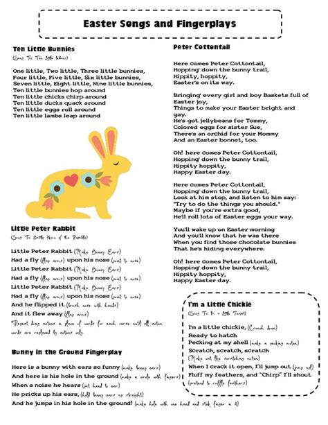 mrs home ec easter songs and fingerplays better late 752 | 9c68815b4796e92e10cdb500ab2ddaf1 children songs easter crafts