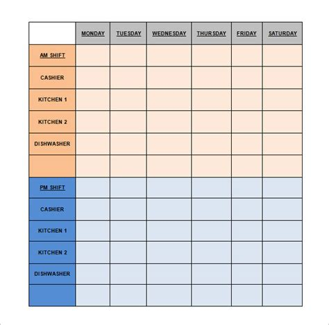 50 Monthly Staff Roster Template, Pin Monthly Attendance