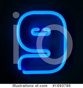 Neon Number Clipart Illustration by