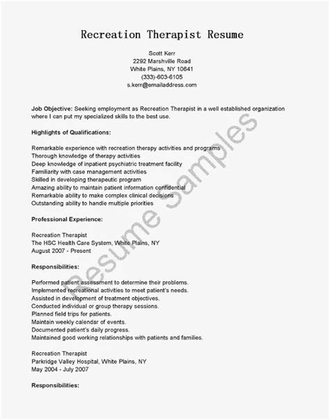 Therapeutic Recreation Assistant Resume Sles by Great Sle Resume Resume Sles Recreation Therapist Resume