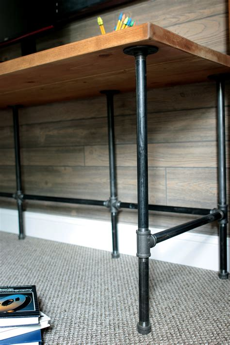 diy industrial pipe wood desk ryobi nation projects