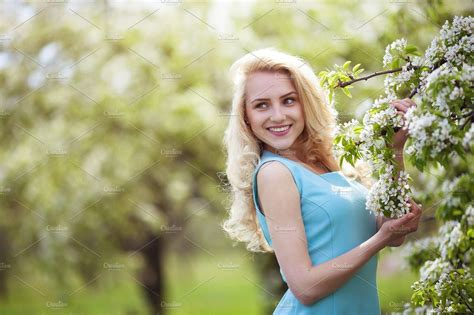 Beautiful Smiling Woman Outdoors Portrait Happy Girl Summer Street Pretty Female Smile At
