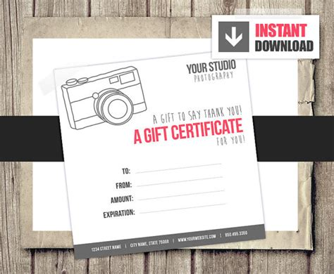 free printable photography gift certificate template gift card gift certificate template for photographers camera