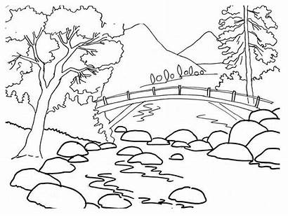 Coloring Mountains Pages Nature
