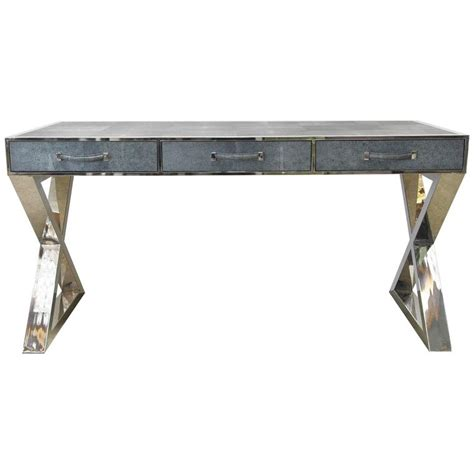 touch desk l stainless steel faux shagreen leather and stainless steel desk by fabio