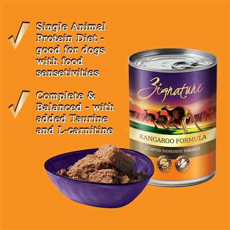 It's a really good food and great for dogs with skin allergies due to high omega fatty acids naturally in the meat, yet it is lower in fat that most meats. Zignature Kangaroo Limited Ingredient Formula Grain-Free ...