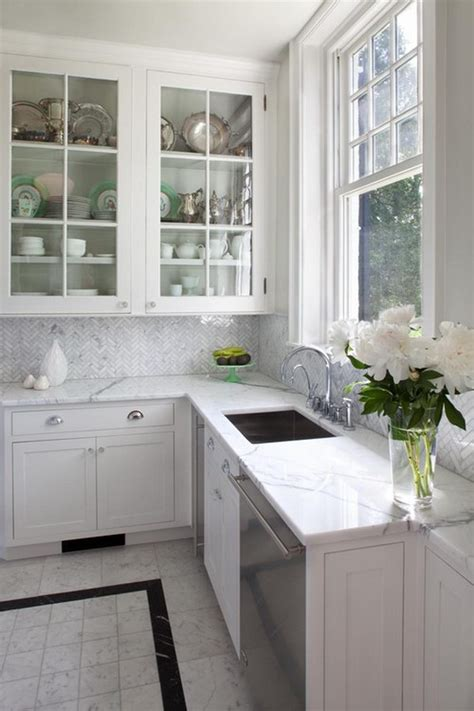 marble herringbone backsplash 35 beautiful kitchen backsplash ideas hative
