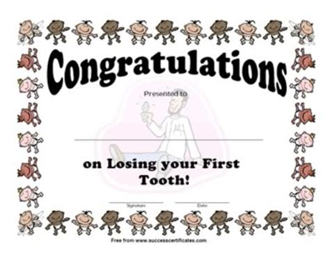 losing   tooth award certificate certificate