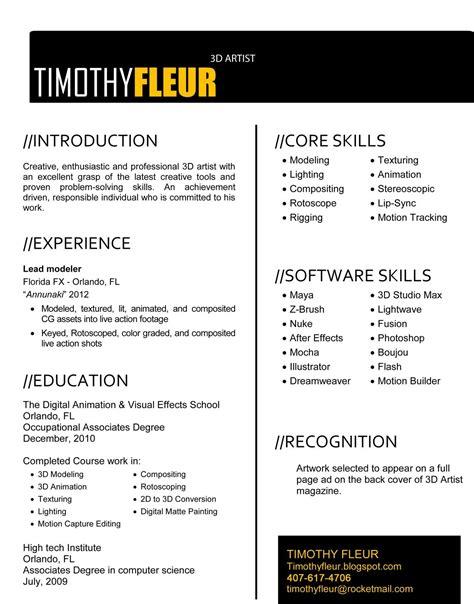 Artist Resume Format by Timothy Fleur 3d Artist Resume Resume Portfolio Ideas