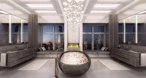 luxurious master bathroom bathrooms with glittering chandeliers Modern