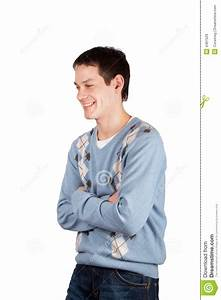 Young Man Laugh Cross Hands Stock Image