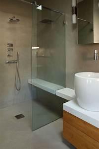 renovation salle de bain douche sans joint et sans With porte de douche coulissante avec vasque salle de bain beton ciré