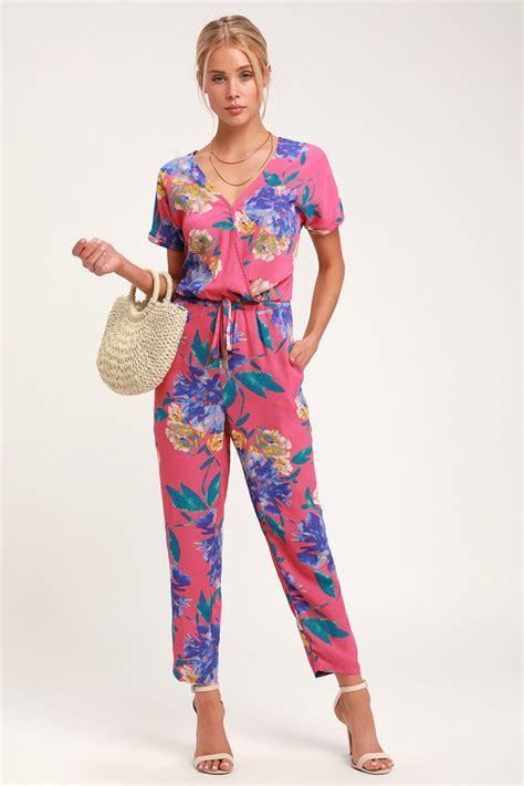 pink floral print jumpsuit surplice jumpsuit