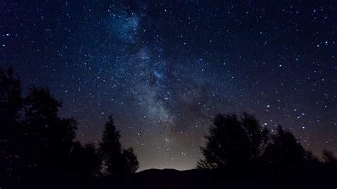 Milky Way Night Sky Stars Trees Time Lapse